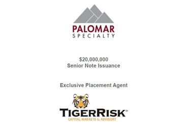 Palomar $20 Million Senior Note Issuance